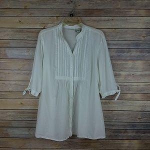 White Stag Tuxedo Style Buttondown Top